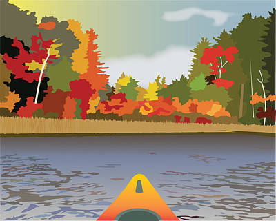 Wall Art - Painting - Kayak--fall by Marian Federspiel