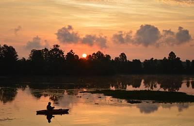 Photograph - Kayak Fishing In The Sunrise by rd Erickson