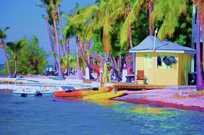 Ocean Sunset Mixed Media -  Kayak Jet Ski Rentals Florida Keys Art by Ken Figurski