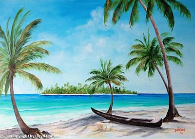 Kayak On The Beach Art Print by Lloyd Dobson