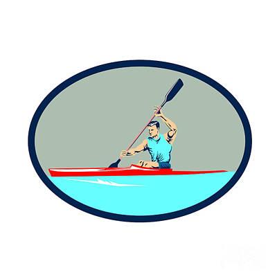 Canoe Digital Art - Kayak Racing Canoe Sprint Oval Retro by Aloysius Patrimonio