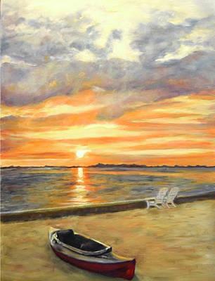 Painting - Kayak Sunrise by Sandra Nardone