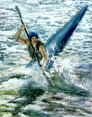 White Water Rafting Painting - Kayaker by Anita Carden