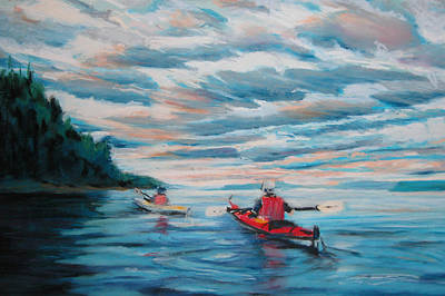 Painting - Kayakers by Synnove Pettersen