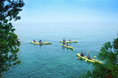 Kayaker Photograph - Kayaking At Cave Point by Art Spectrum