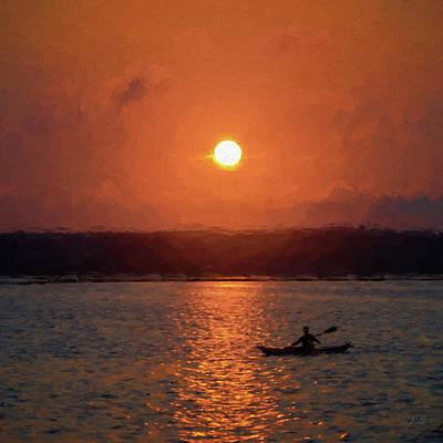 Photograph -  Kayaking At Sunset by David Gordon