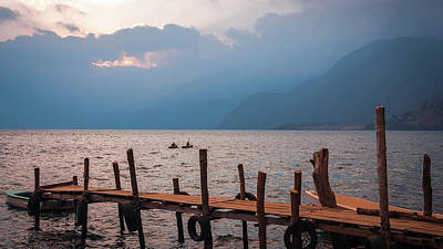 Photograph - Kayaking On Lake Atitlan At Sunset by Daniela Constantinescu