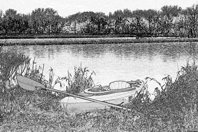 Water Activity Drawing - Kayaking Oxbow Lake by Tim The Bikeman