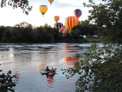 Photograph - Kayaks And Balloons by Bill Tomsa
