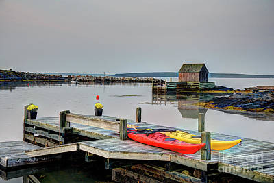 Photograph - Kayaks And Chrysanthemums by Jean Hutchison