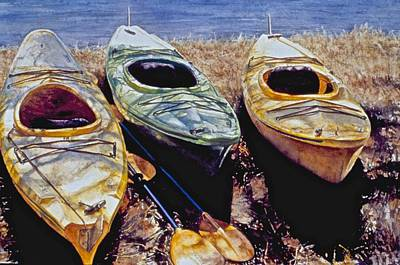 Painting - Kayaks by Barbara Pease