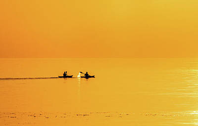 Kayaks In The Sunset Original by Kim Lessel