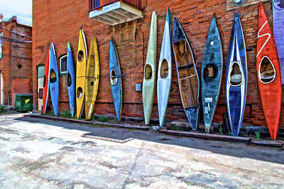 Photograph - Kayaks On A Wall  by Charles Muhle