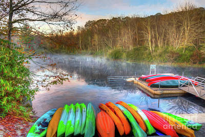 Painting - Kayaks On Price Lake In The Blue Ridge Ap by Dan Carmichael