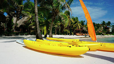 Photograph - Kayaks On The Beach Of Ambergris Caye Belize by Waterdancer