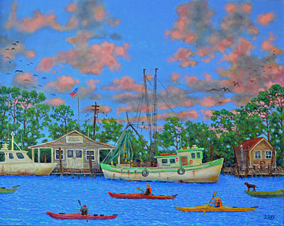 Painting - kayaks on the Creek by Dwain Ray