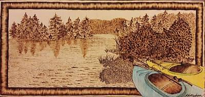 Pyrography Pyrography - Kayaks On The Lake by Nanci Nottingham