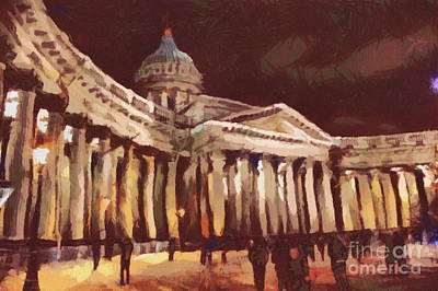Pyrography - Kazan Cathedral In St. Petersburg by Yury Bashkin