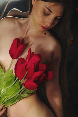 Female Nude Abstract Mirrors Flowers Photograph - Kazi1128 by Henry Butz
