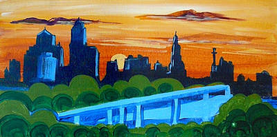 Painting - Kc Skyline At Sunset by Richard Fritz