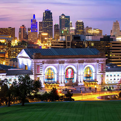 Photograph - Kc Skyline Square Format Color With Union Station by Gregory Ballos