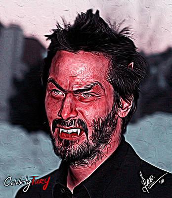 Keanu Digital Art - Keanu Reeves by Gene Spino