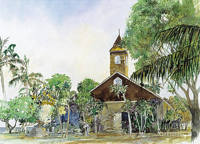Cemetary Painting - Keawala'i Hawaiian Congregational Church by Richard Jansen