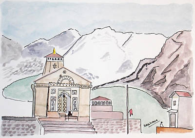Painting - Kedarnath Jyotirling by Keshava Shukla