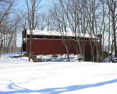 Photograph - Keefers Mill Bridge With Snow by George Jones