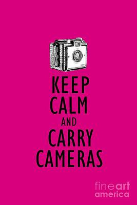 Keep Calm And Carry Cameras Photographer Tee Art Print by Edward Fielding
