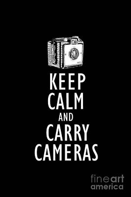 Drawing - Keep Calm And Carry Cameras Tee by Edward Fielding