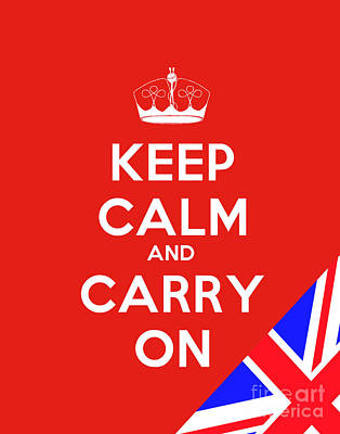 Keep Calm Painting - Keep Calm And Carry On Motivational Poster by Celestial Images