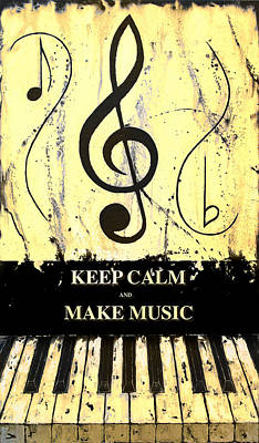 Keep Calm And Make Music Yellow Art Print by Wayne Cantrell