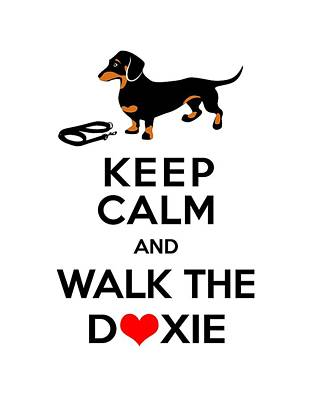 Walking Dog Digital Art - Keep Calm And Walk The Doxie by Antique Images