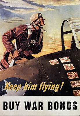 Painting - Keep Him Flying Buy War Bonds Poster by R Muirhead Art