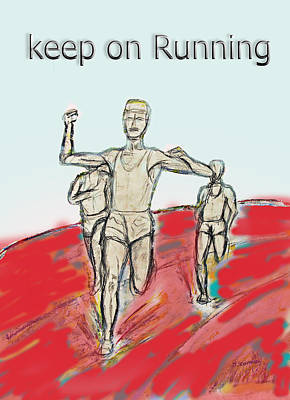 Drawing - Keep On Running, Athletes by Tom Conway