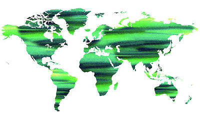 Painting - Keep The World Green Watercolor Map by Irina Sztukowski