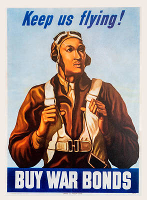 Digital Art - Keep Us Flying War Bond Poster by Steven Green