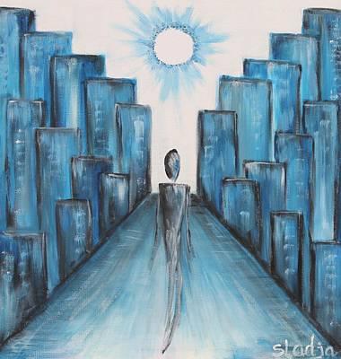 Art Print featuring the painting Keep Walking by Sladjana Lazarevic