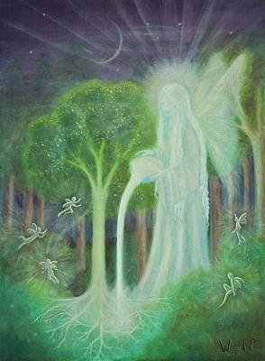 Angel Painting - Keeper Of The Trees by Bernadette Wulf