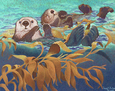 Otter Wall Art - Pastel - Keepers Of The Kelp by Tracy L Teeter