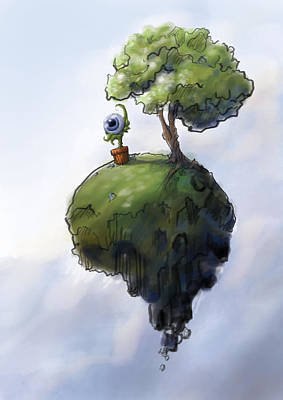 Painting - Keeping An Eye On My Tiny Planet by Kevin Gallagher