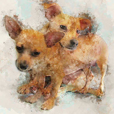 Watercolor Pet Portraits Digital Art - Keeping Each Other Warm - Chihuahua Puppies Watercolor Portrait by Rayanda Arts