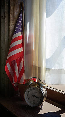 Photograph - Keeping Time With Old Glory by Susan Rissi Tregoning