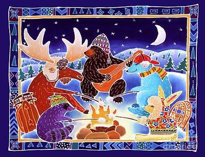 Winter Night Painting - Keeping Warm By The Fire by Harriet Peck Taylor