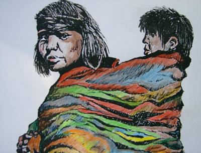 Art Print featuring the drawing Keeping Warm by Leslie Manley