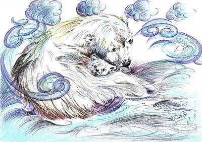 Mixed Media - Keeping Warm With Mama Bear by Teresa White