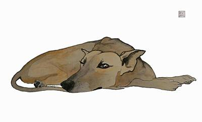 Whippet Painting - Keeping Watch by Richard Williamson