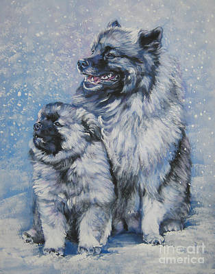 Painting - Keeshond And Pup In Snow by Lee Ann Shepard