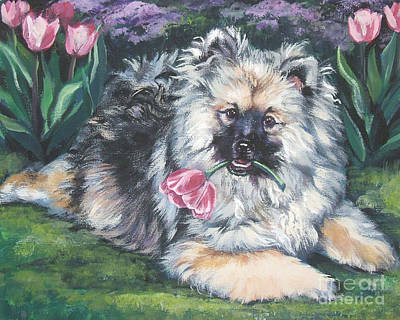 Painting - Keeshond In The Tulips by Lee Ann Shepard